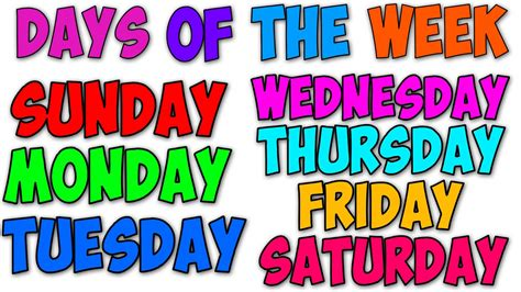 the days of my books days of the week songs for and children coloring