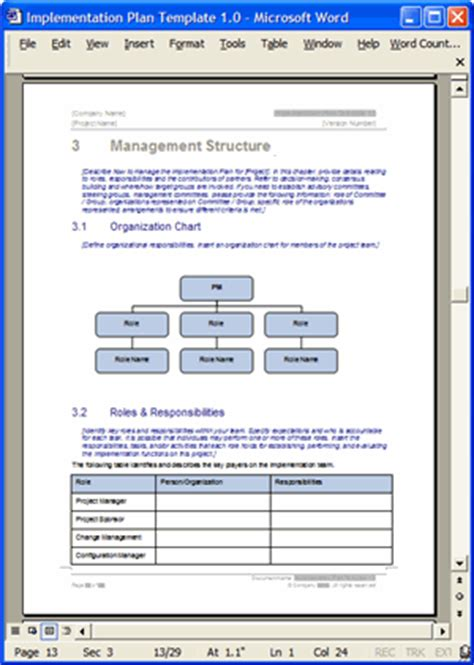 software implementation plan template implementation plan template exle
