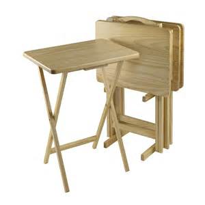 Folding Tv Tray Table Winsome Wood 51520 Five Rectangular Folding Tv Tray Table Set Lowe S Canada