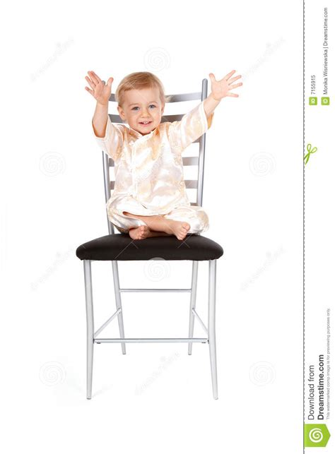 Baby On Chair by Adorable Baby Sitting On A Chair Royalty Free Stock