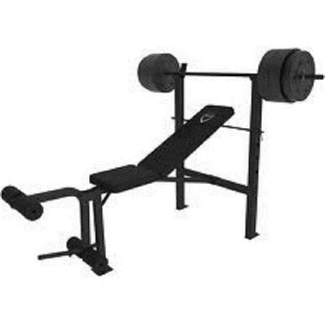 weights and bench set cap barbell deluxe standard weight bench and 100 lb set steel bar leg developer ebay