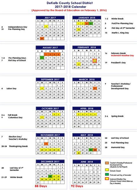 Dekalb County Schools Calendar Dekalb County Schools 2017 18 Calendar