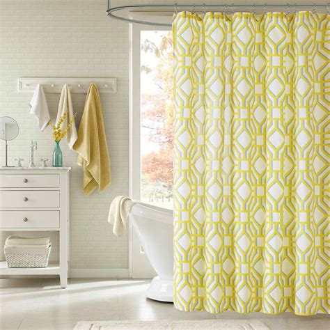 yellow bathroom curtains id alana yellow geometric shower curtain contemporary