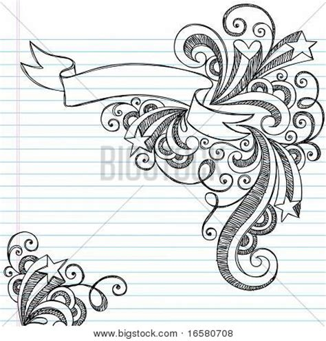 how to draw doodle swirls scroll banner sketchy notebook doodles with