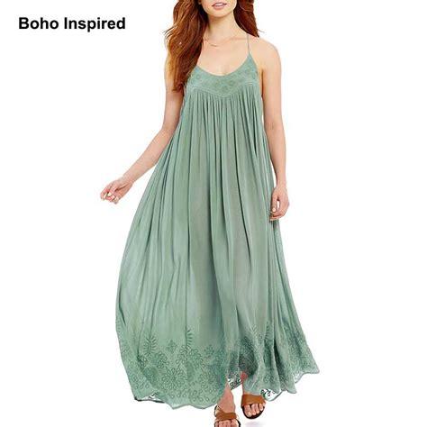 Slip On Bohemian Style 1 boho inspired 2017 summer dress maxi slip dress flroal embroidered on hem sleeveless dress