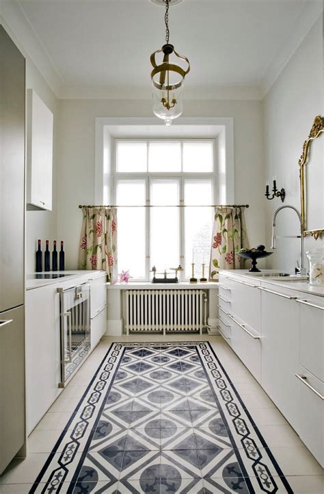 white kitchen patterned floor cafe flooring ideas kitchen transitional with white