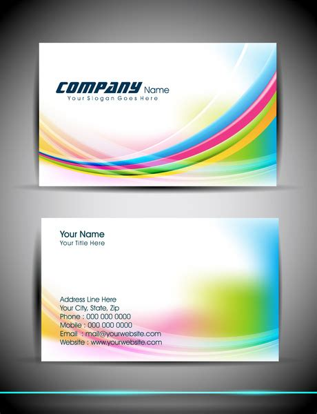Free Business Card Templates Artwork by Abstract Business Card Template Free Vector In Adobe