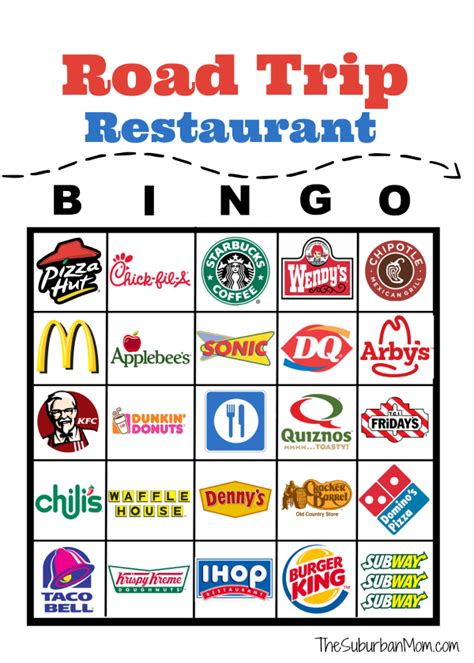 Road Trip Bingo Printable road trip restaurant bingo free printable the suburban