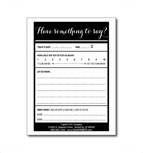 comment card template comment card template 24 free printable sle exle