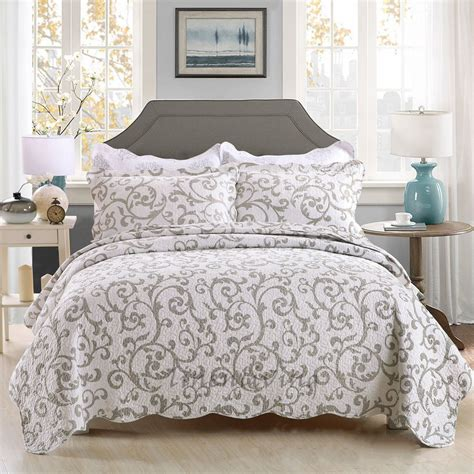 quilted coverlet queen reversible quilted cotton patchwork coverlet bedspread 3pc