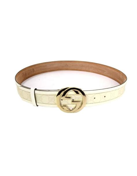 gucci monogram white leather and canvas belt sz l shw at 1stdibs