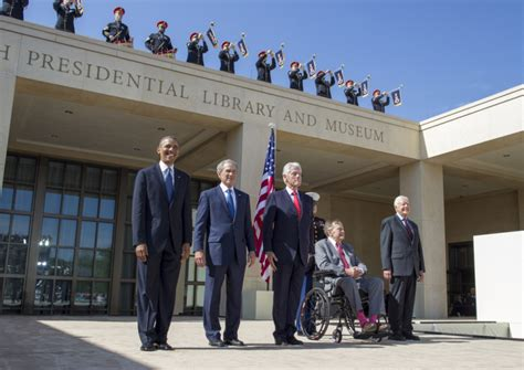 presidential reunion from the opening of the bush library time