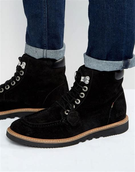 Boot Pria Kickers Leather Suede kickers kwamie suede lace up boots in black for lyst