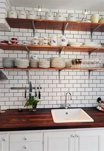 lovely kitchen open shelves butcher countertop white