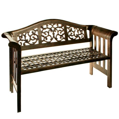 home depot garden bench amazonia nelson 49 in eucalyptus patio bench with striped
