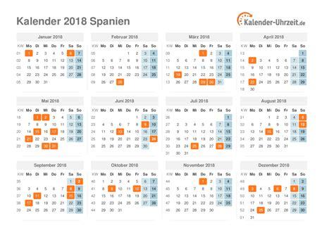 Kalender Mit Feiertagen 2018 Feiertage 2018 Spanien Kalender 220 Bersicht