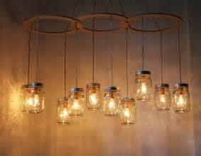 Mason jar chandelier lighting fixture large canopy by bootsngus