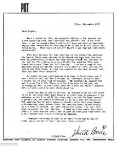 Letter that David Bowie penned to his first US fan in 1967