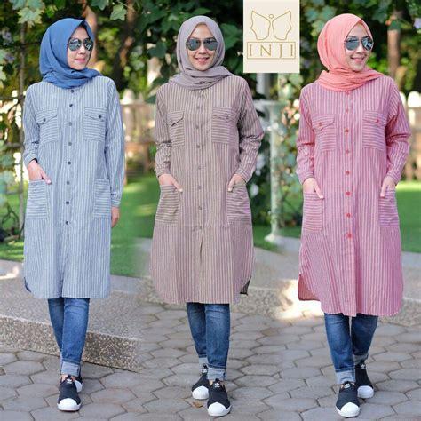 Simple Tunik Baju Atasan Wanita baju atasan tunik bahan katun motif garis dengan model