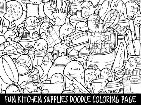 kitchen supplies coloring pages kitchen supplies doodle coloring page printable cute kawaii