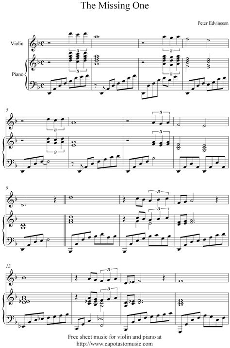 free violin and piano sheet music the missing one