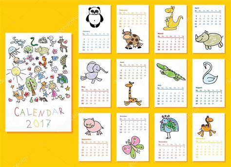 doodle kalender calendrier 2017 avec doodle animaux image vectorielle