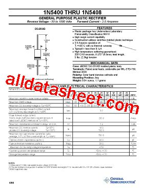 1n5408 diode datasheet 1n5408 datasheet pdf general semiconductor