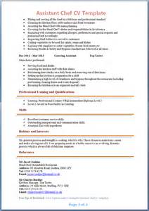 cv template chef assistant chef cv template page 2