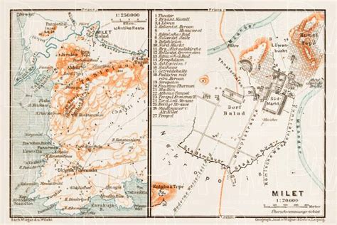 turkey archaeological sites map old map of the site of ancient milet miletus and