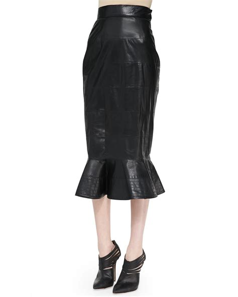 oscar de la renta leather midi skirt with peplum flare in