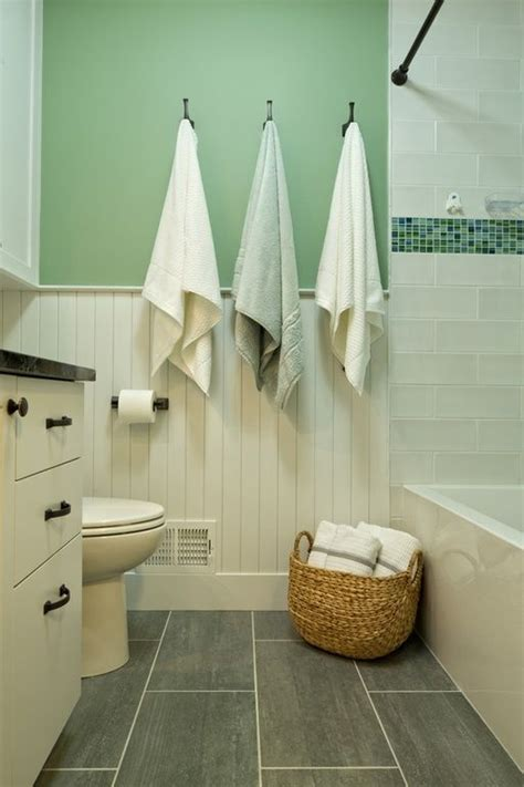 Bathroom Flooring Ideas Cottage Full Bathroom With European Cabinets Wainscoting