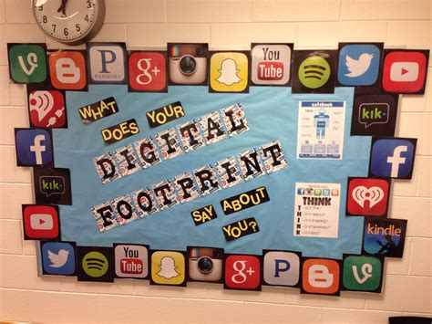 office board design digital footprint bulletin board for my counseling office