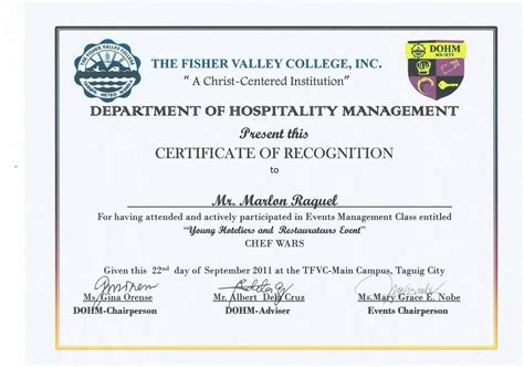 Sertipiko Ng Pagkilala Certificate the fisher valley college september 2011