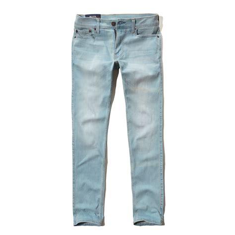 hollister light wash jeans lyst hollister skinny jeans in blue for men