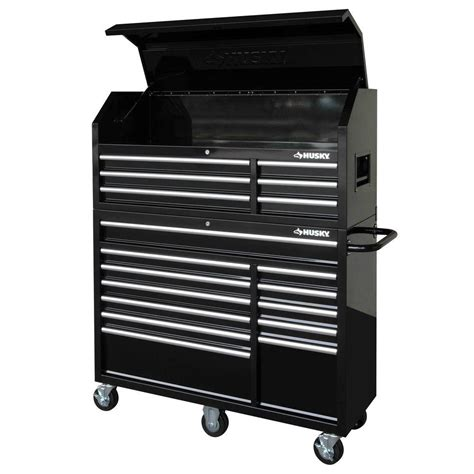 Husky 52 In 18 Drawer Tool Chest And Cabinet Set Black by Husky 52 In 18 Drawer Tool Chest And Cabinet Set Black