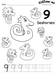 Counting Worksheet Number 9 Coloring Page Elephant  sketch template