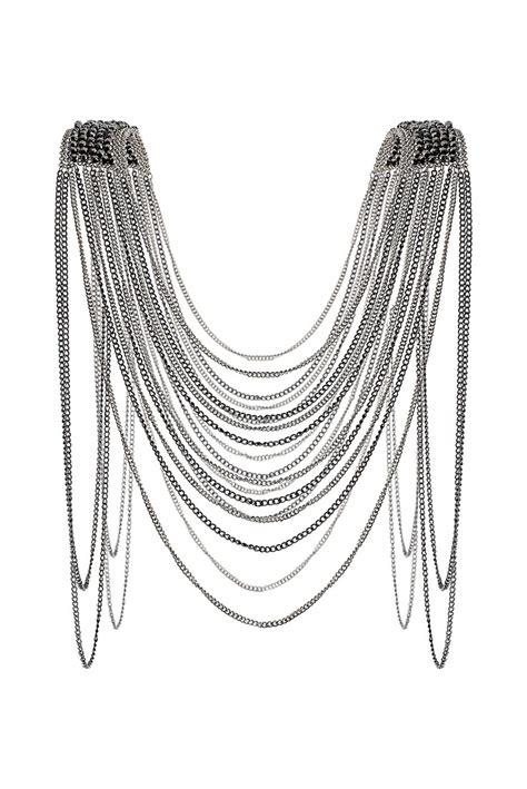 shoulder drape necklace women s metallic bead shoulder drape necklace shops