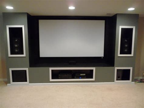 built in entertainment system in basement projection