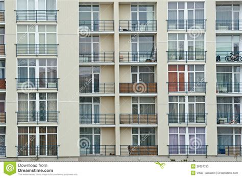 Concrete Block Floor Plans Stainless Steel Balcony On The Modern Building Stock Image