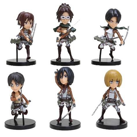 Figure Anime Pvc Attack On Titan 6pcs set anime attack on titan figures eren mikasa