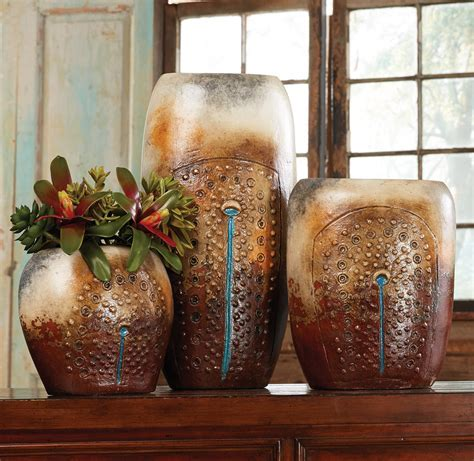Turquoise Falls Pottery Vases (Set of 3)