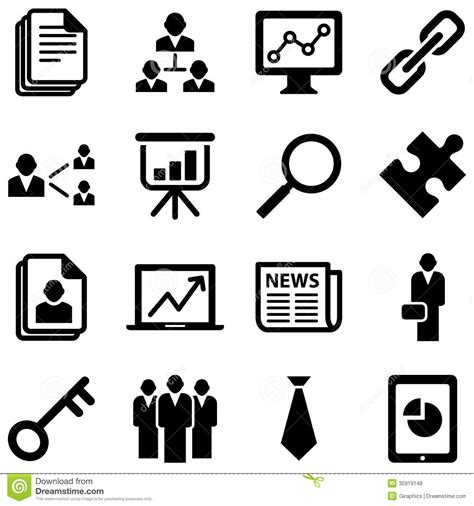 Vector Business Icons Set Royalty Free Stock Photos Image 1095468 Business Icons Stock Vector Illustration Of Glass Corner 30919149