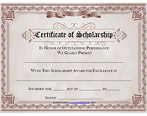 Free Printable Certificate of Scholarship Awards Blank