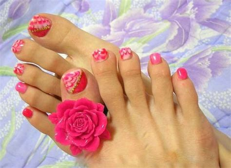 flower design on toes 40 pink toe nail art design ideas