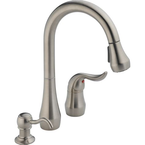 peerless pull down kitchen faucet shop peerless stainless 1 handle pull down kitchen faucet at lowes com