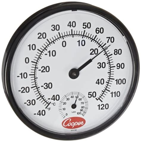 analog wall clock with humidity gage temperature gage cmhg gage cooper atkins 212 150 8 bi metal wall mount thermometer