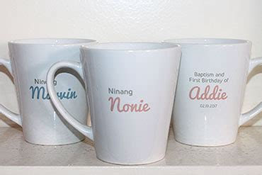 mug design for christening a very simple layout in latte mugs as baptismal souvenirs