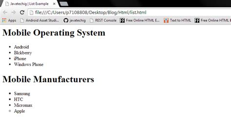 html tutorial ordered list unordered and ordered list exle in html stacktips