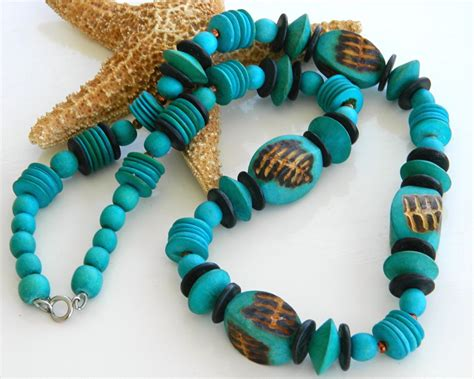 Handmade Wooden Necklaces - vintage handmade wooden necklace chunky turquoise
