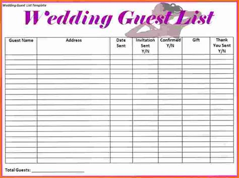 wedding guest list spreadsheet template wedding guest list mado sahkotupakka co